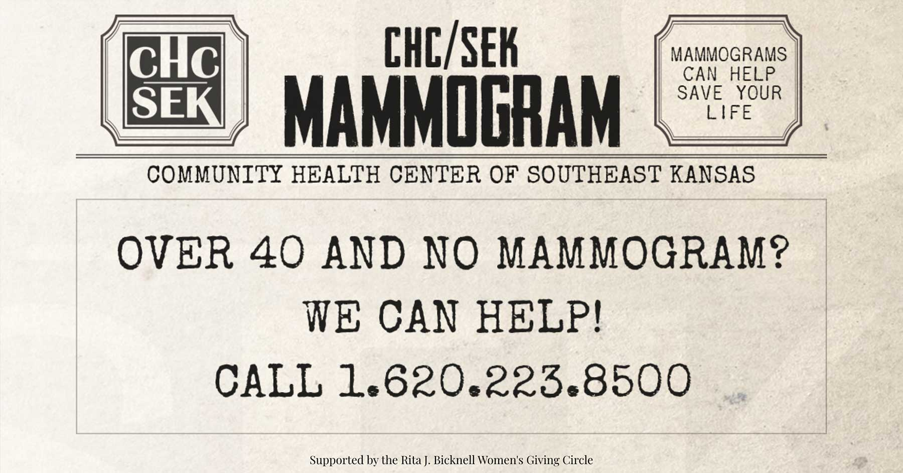Over 40 and no mammogram? We can help! Call 1-620-223-8500.